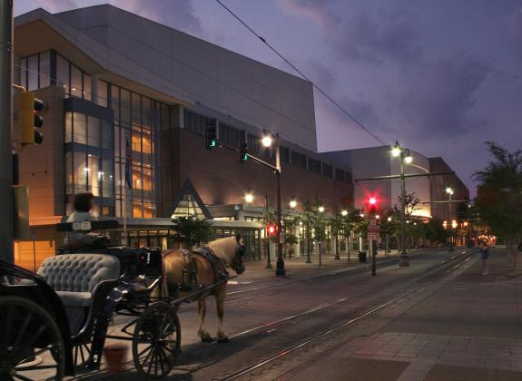 Carriage ride in front of Cannon Center and Cook Convention Center. Photo Credit: Baxter Buck